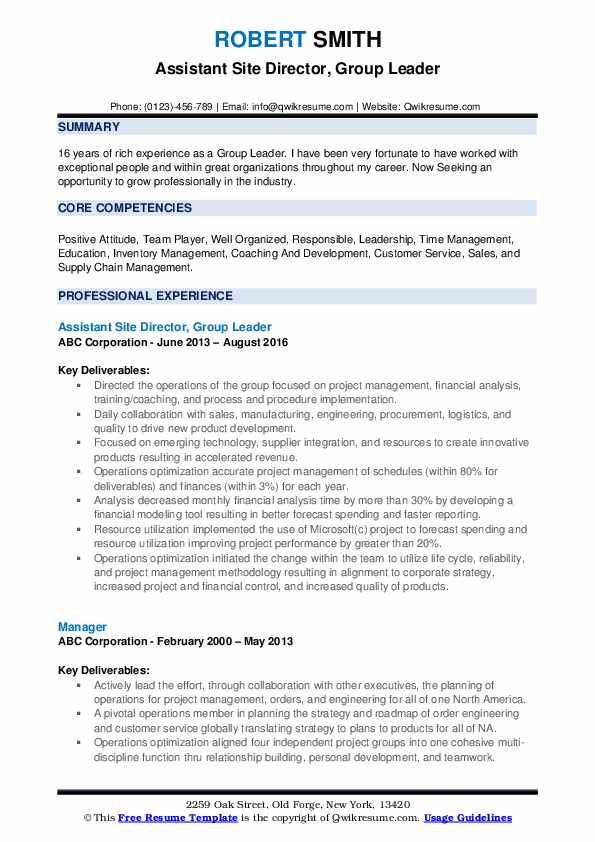Assistant Site Director, Group Leader Resume Sample