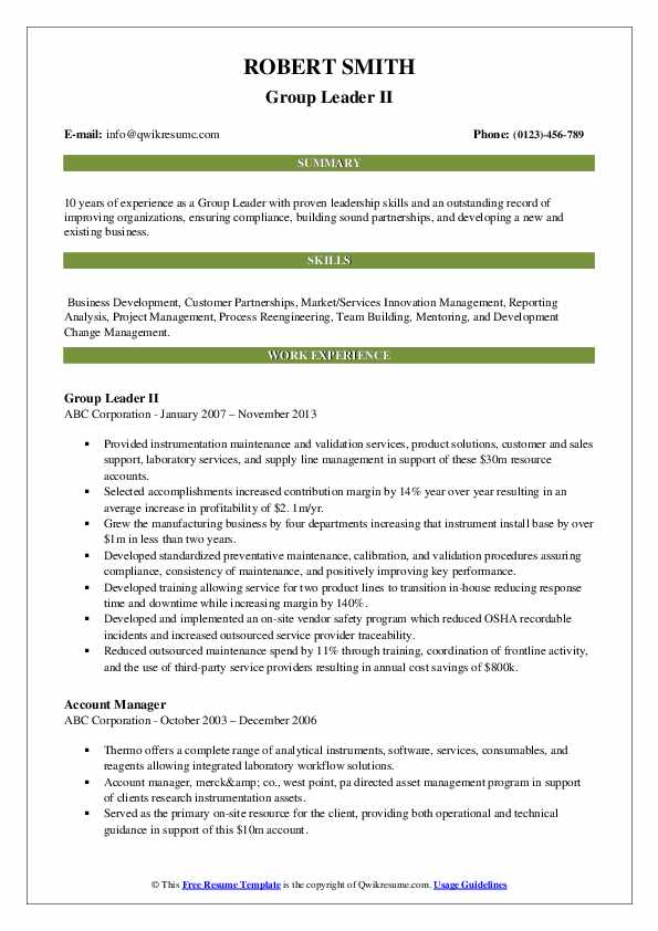 Group Leader II Resume Format