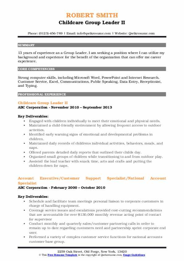 Childcare Group Leader II Resume Format