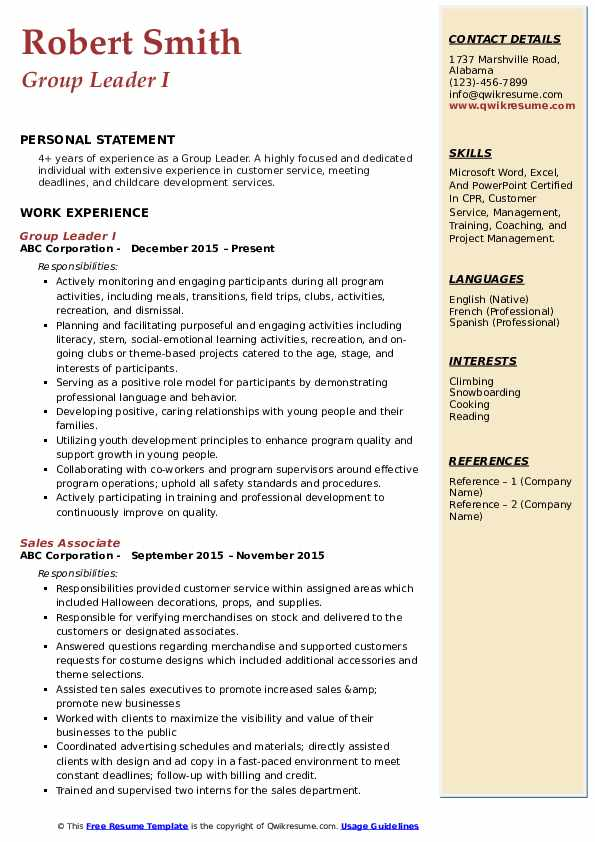 Group Leader I Resume Format