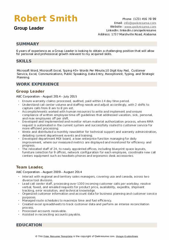 Group Leader Resume example