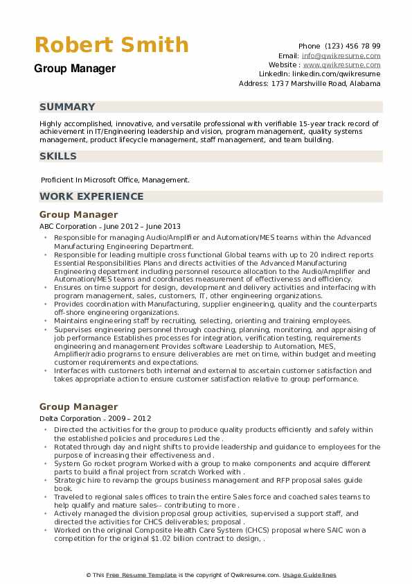 Group Manager Resume example