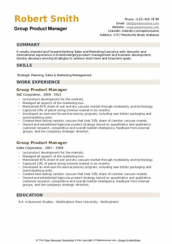 Group Product Manager Resume example