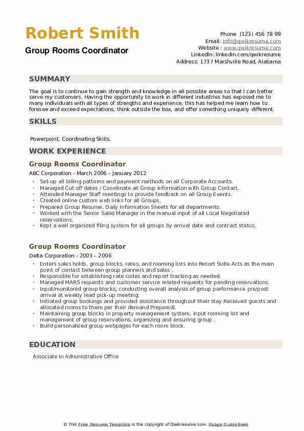 Group Rooms Coordinator Resume example