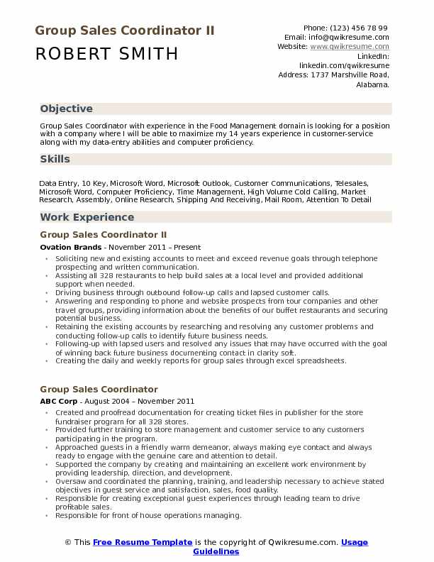 Group Sales Coordinator II Resume Sample