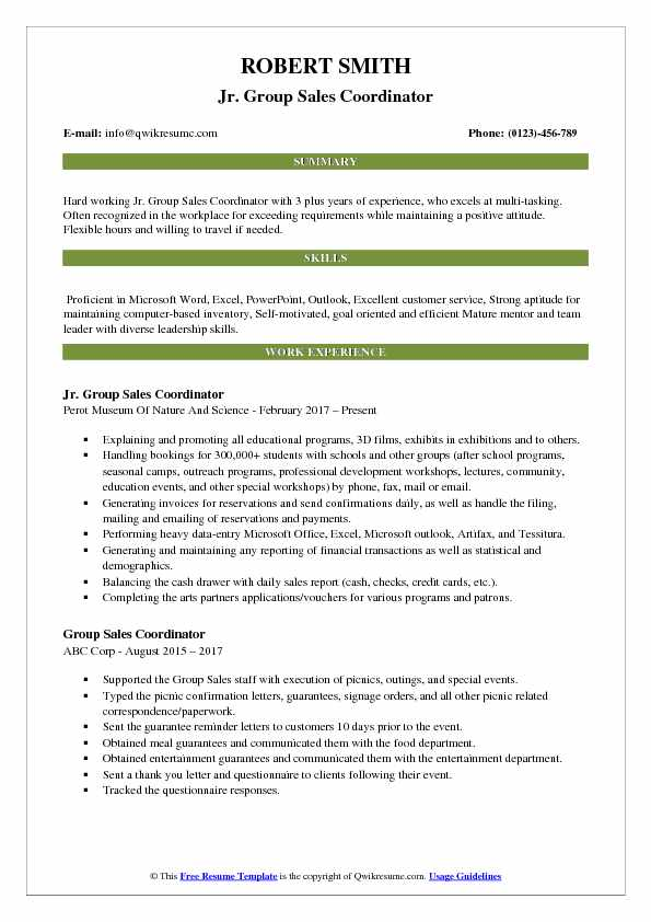 Jr. Group Sales Coordinator Resume Example