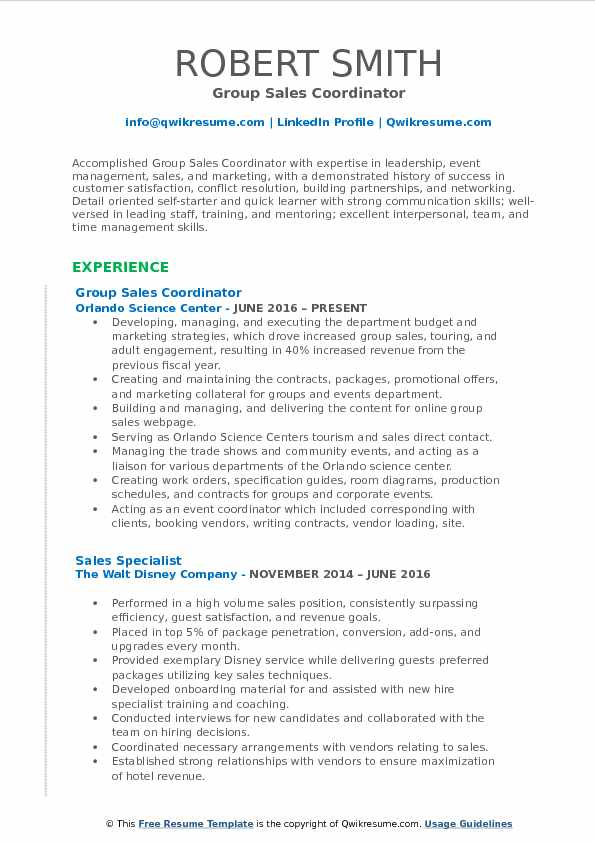 Group Sales Coordinator Resume Model