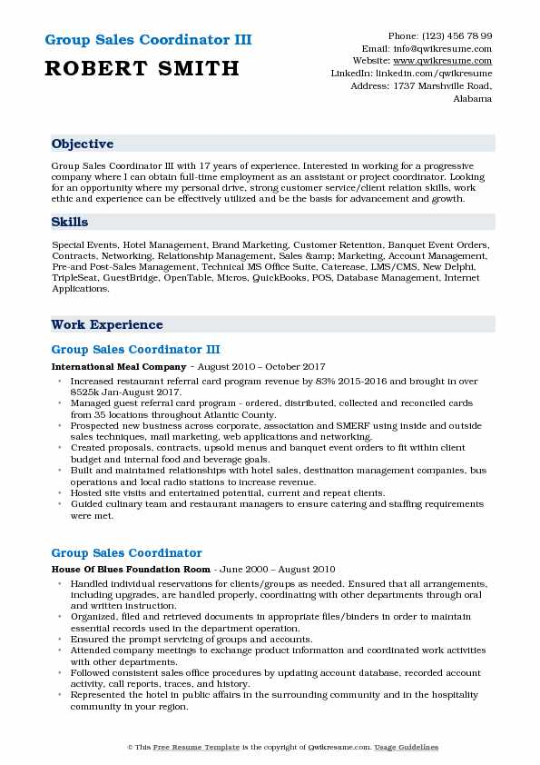 Group Sales Coordinator III Resume Example