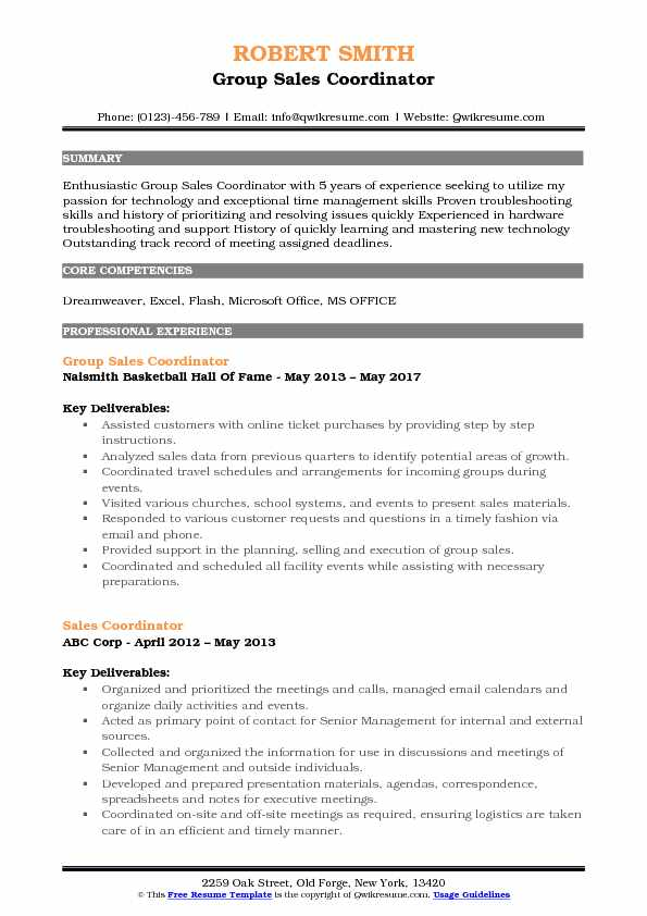Group Sales Coordinator Resume Template