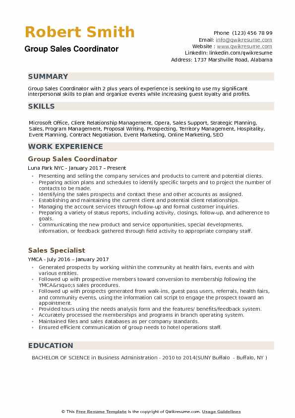 Group Sales Coordinator Resume example