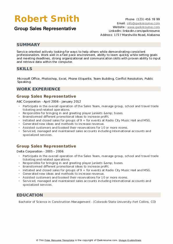 Group Sales Representative Resume example