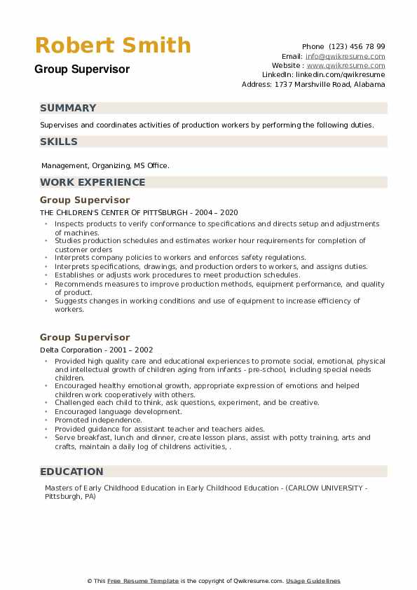 Group Supervisor Resume example