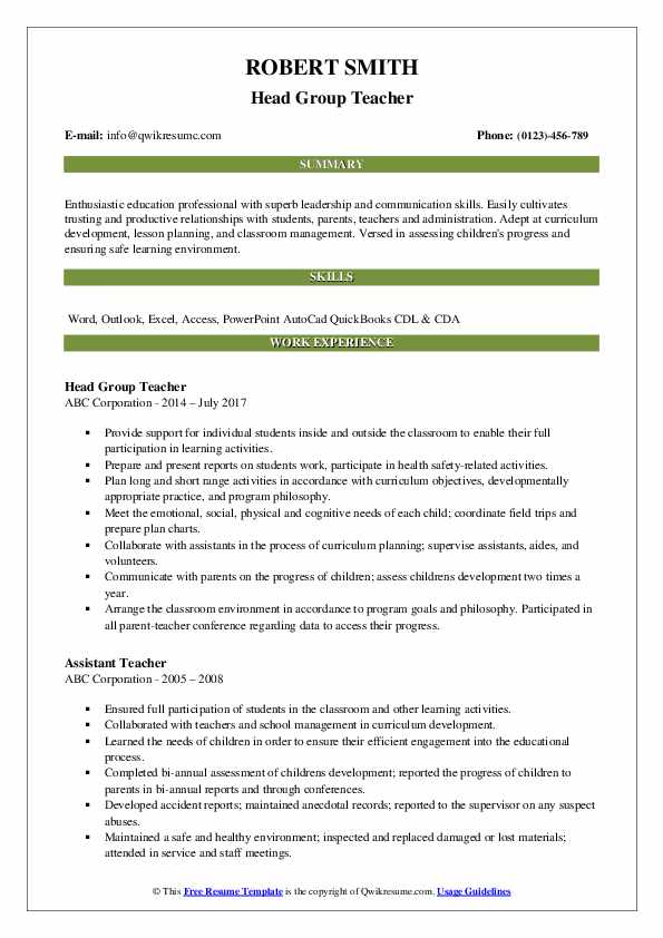 Head Group Teacher Resume Format