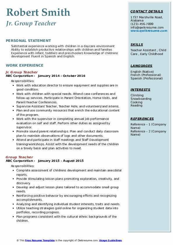Jr. Group Teacher Resume Model