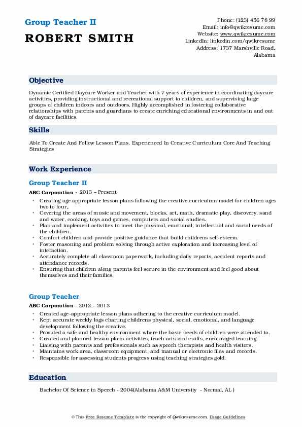 Group Teacher II Resume Model