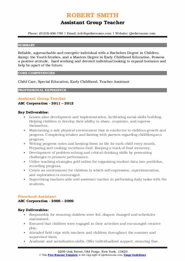 Assistant Group Teacher Resume Sample