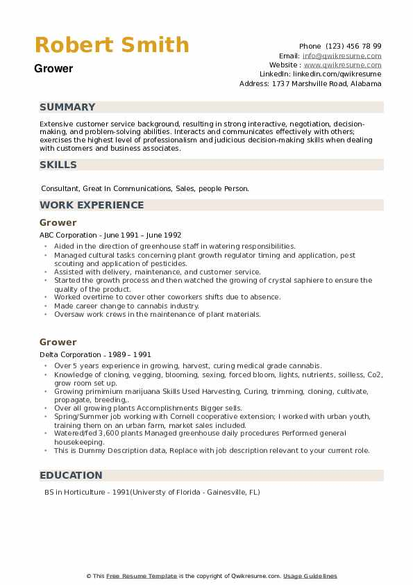 Grower Resume example