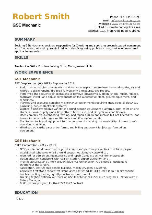 GSE Mechanic Resume example