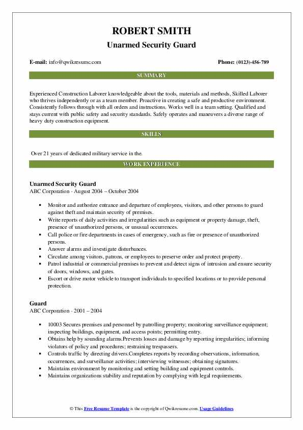 Unarmed Security Guard Resume Model