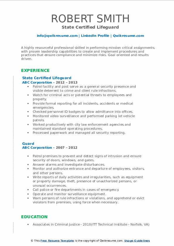 State Certified Lifeguard Resume Example