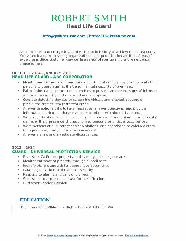 Head Life Guard Resume Template