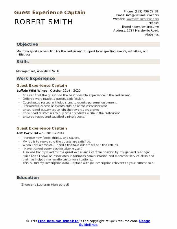 Guest Experience Captain Resume example