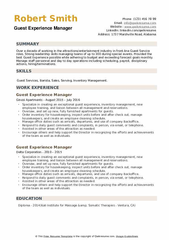 Guest Experience Manager Resume example