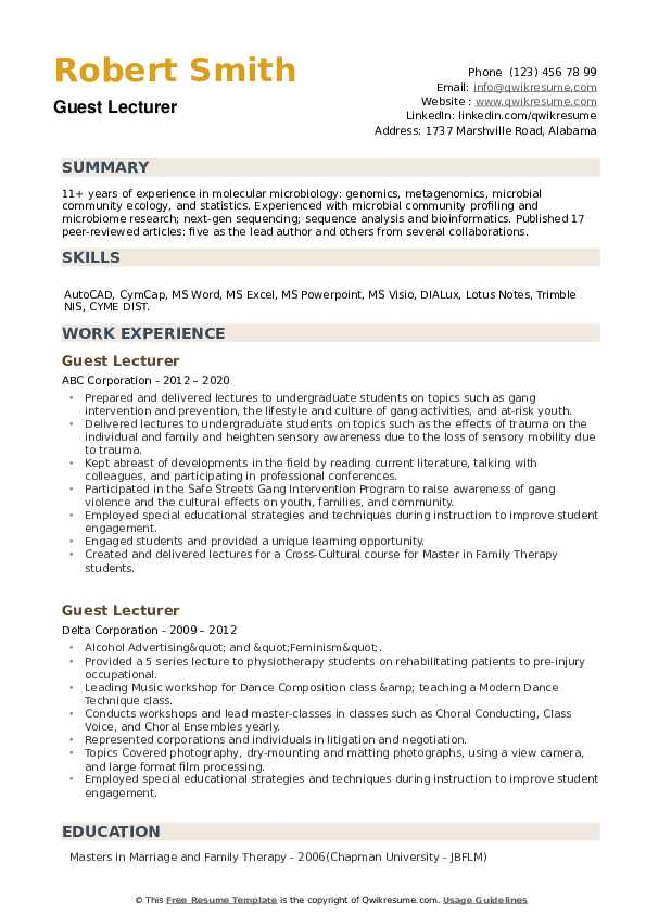 Guest Lecturer Resume example