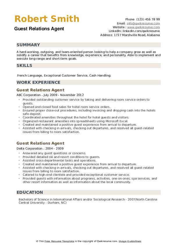 Guest Relations Agent Resume example