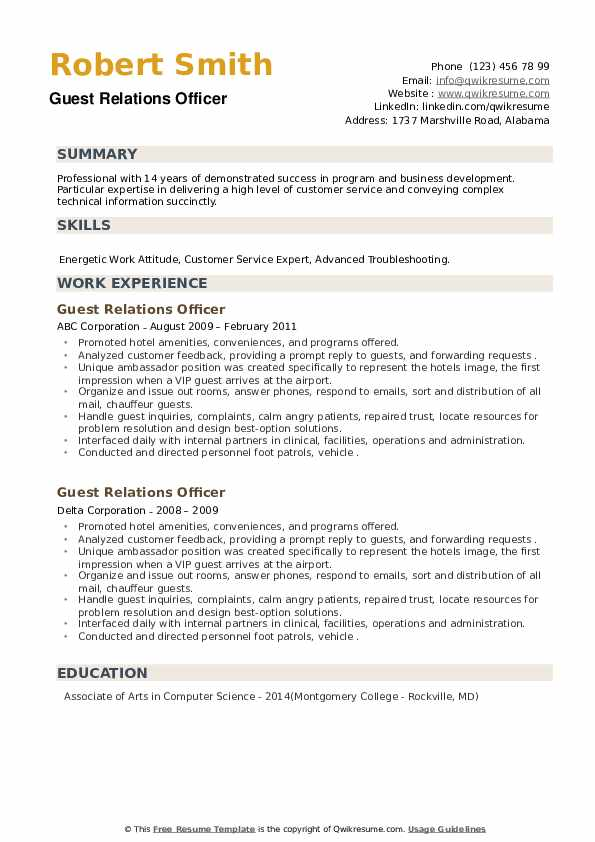 Guest Relations Officer Resume example