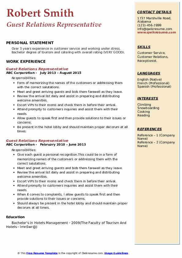 Guest Relations Representative Resume example