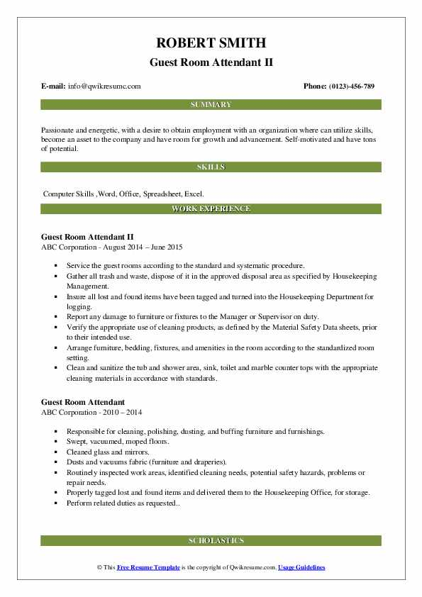 Guest Room Attendant II Resume Template