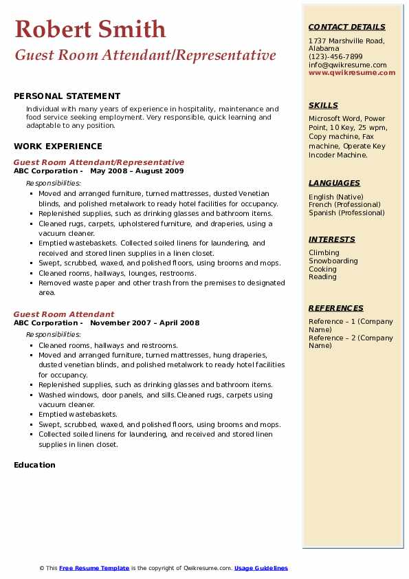 Guest Room Attendant/Representative Resume Format