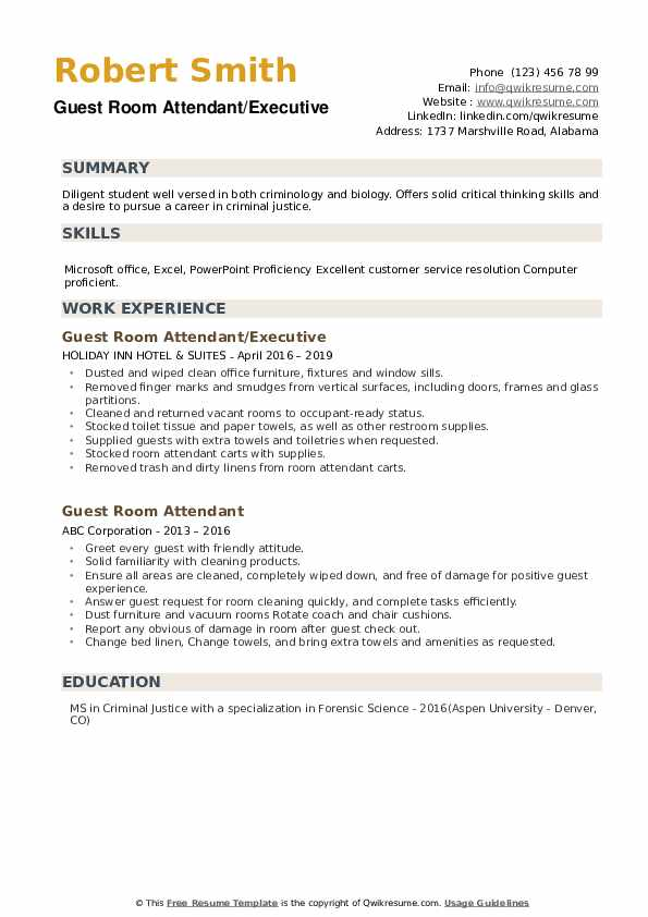 Guest Room Attendant/Executive Resume Sample