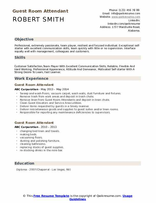 Guest Room Attendant Resume example