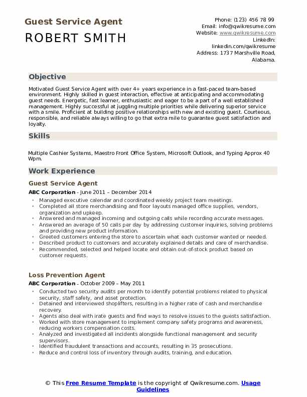 Guest Service Agent Resume Example