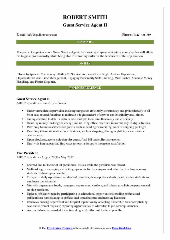 Guest Service Agent II Resume Format