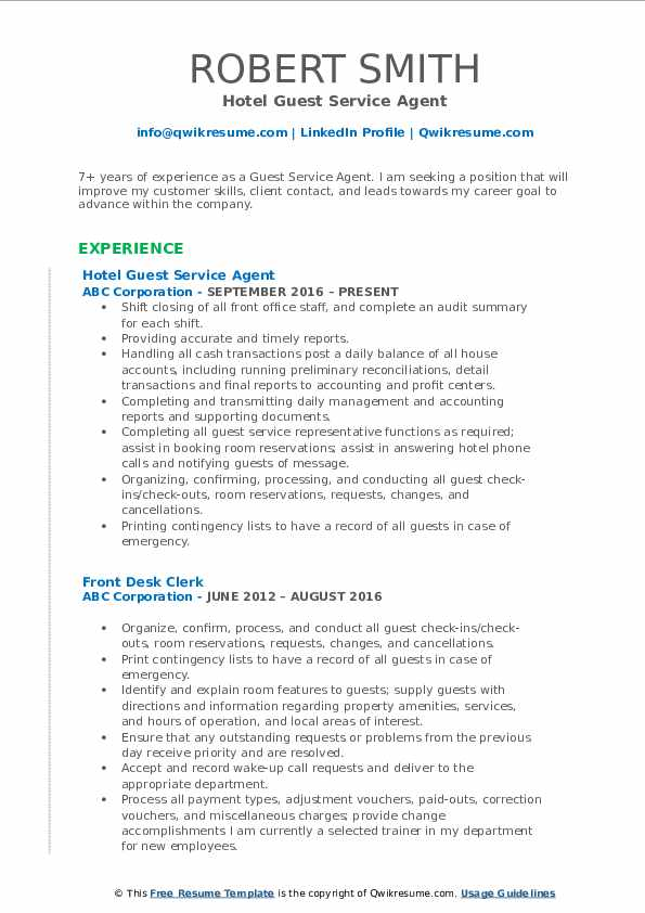 Hotel Guest Service Agent Resume Sample