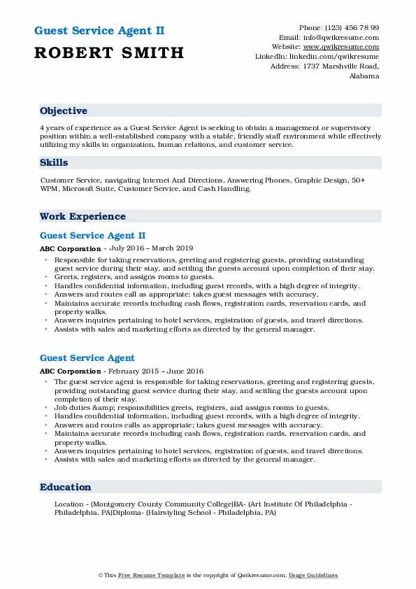 Guest Service Agent II Resume Template