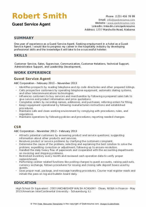 Guest Service Agent Resume Sample