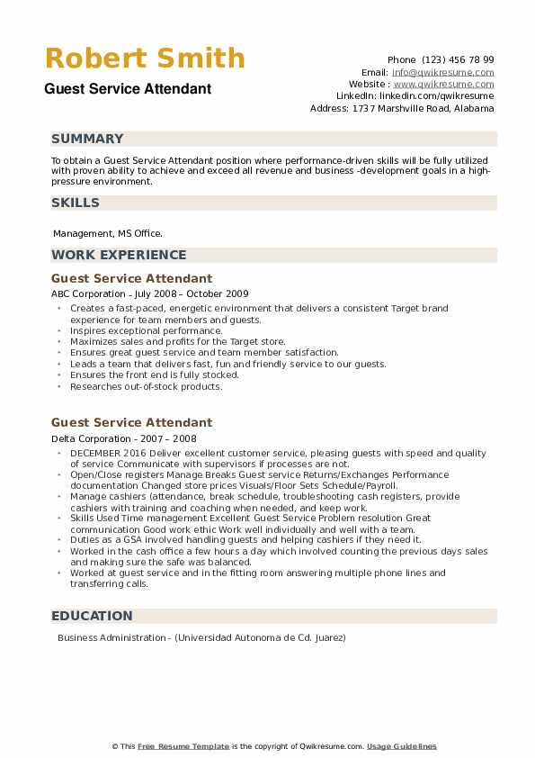 Guest Service Attendant Resume example