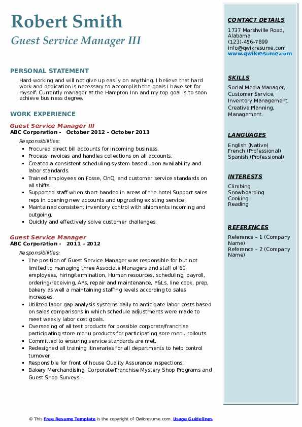 Guest Service Manager III Resume Template