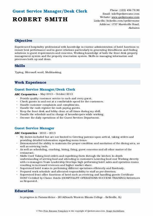 Guest Service Manager/Desk Clerk Resume Sample