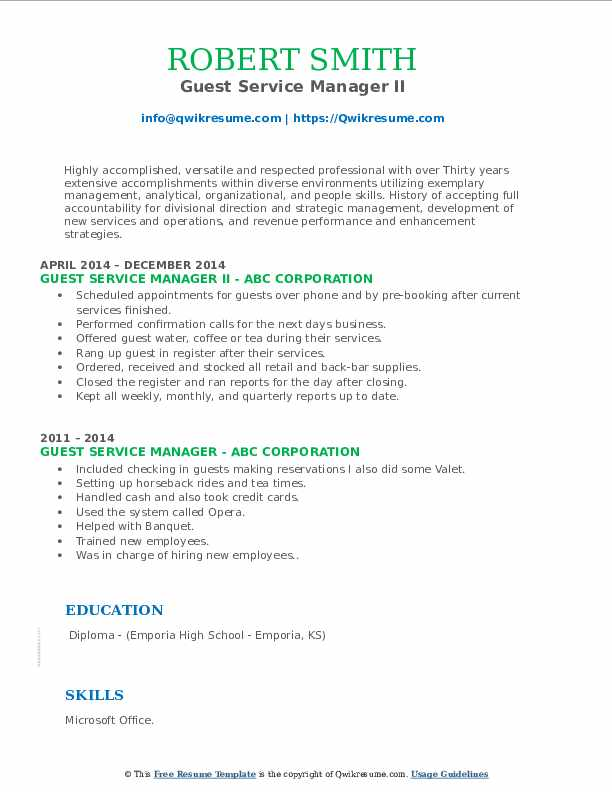 Guest Service Manager II Resume Format
