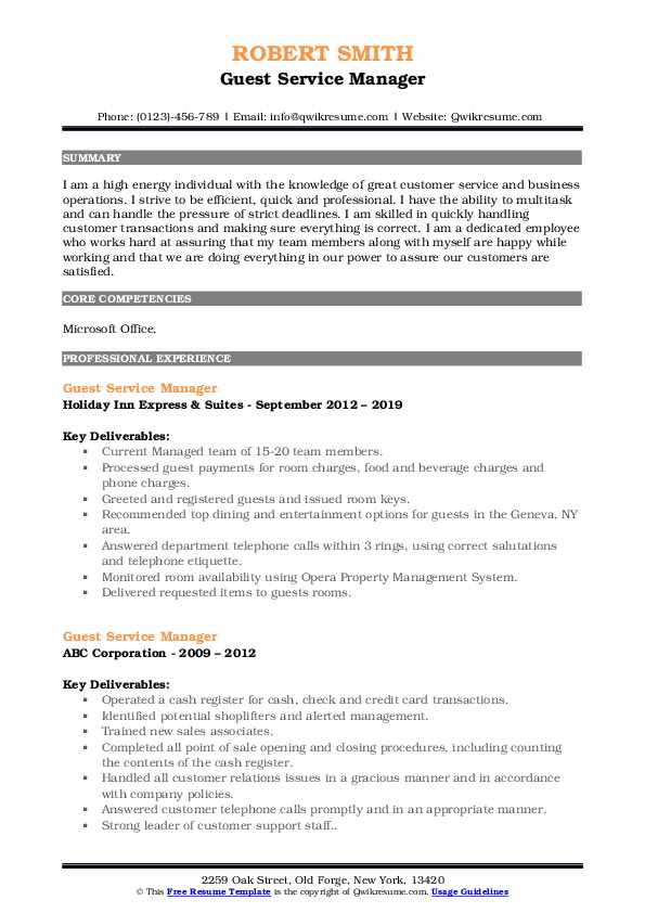 Guest Service Manager Resume Format