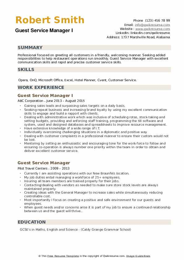 Guest Service Manager I Resume Example