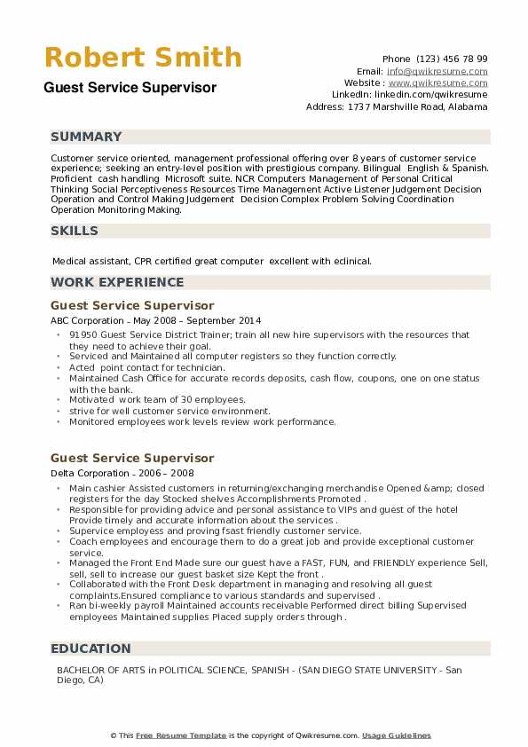 Guest Service Supervisor Resume example