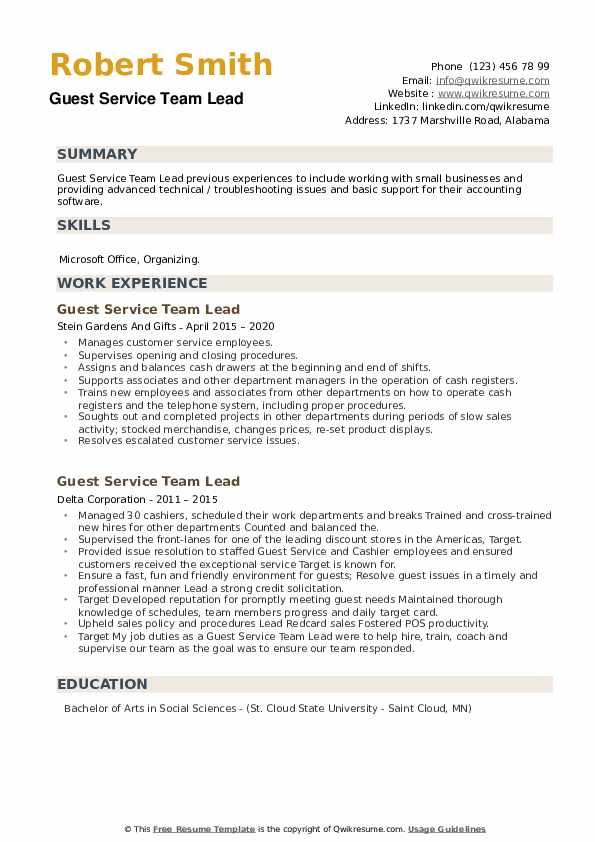 Guest Service Team Lead Resume example