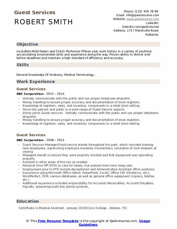 Guest Services Resume Template