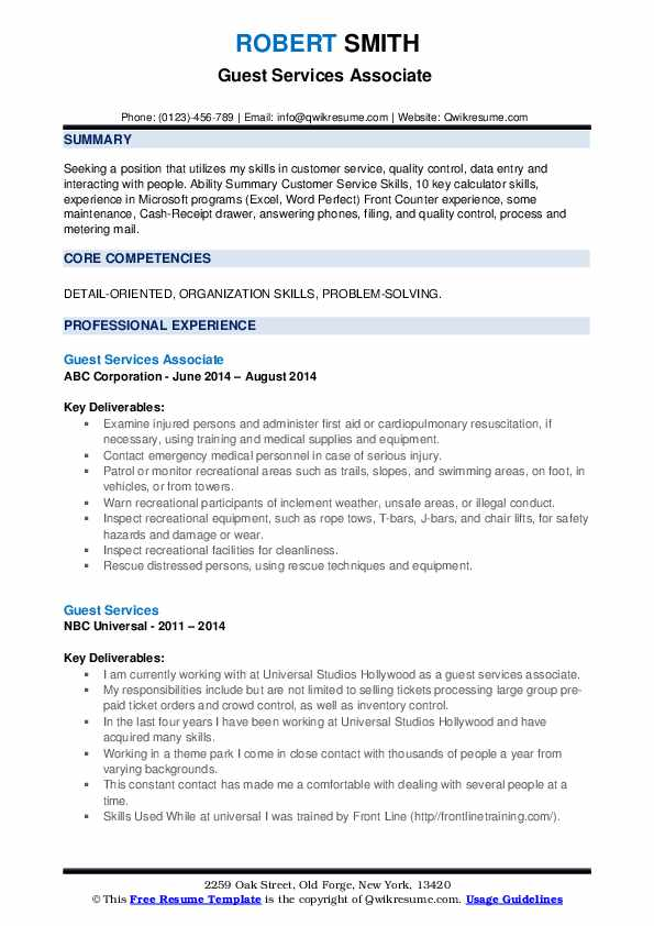 Guest Services Associate  Resume Template